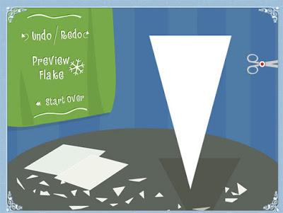 También me encanta este juego para ver cómo se hacen copos de nieve de papel