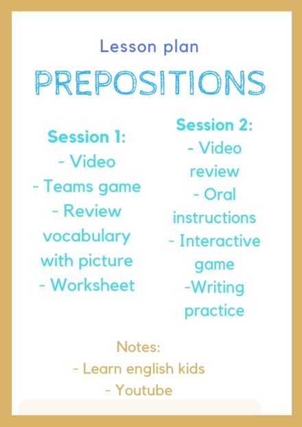 prepositions Lesson Plan