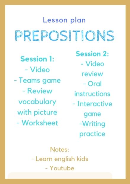 prepositions Lesson Plan